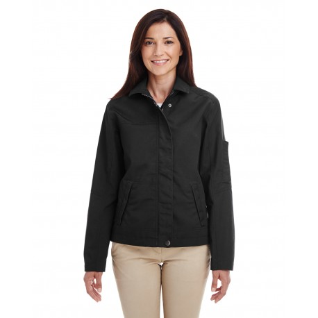 M705W Harriton M705W Ladies' Auxiliary Canvas Work Jacket BLACK
