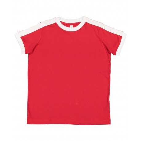 6132 LAT 6132 Youth Soccer Ringer Fine Jersey T-Shirt RED/WHITE