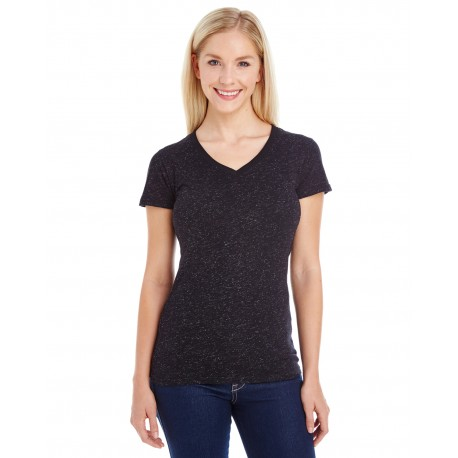 JA8136 J America JA8136 Ladies' Glitter V-Neck T-Shirt BLACK