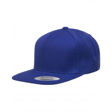 YP5089 Yupoong YP5089 Adult 5-Panel Structured Flat Visor Classic Snapback Cap ROYAL