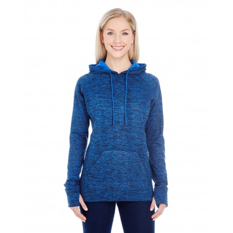 JA8616 J America JA8616 Ladies' Cosmic Contrast Fleece Hood ROYAL FLK/ROYAL