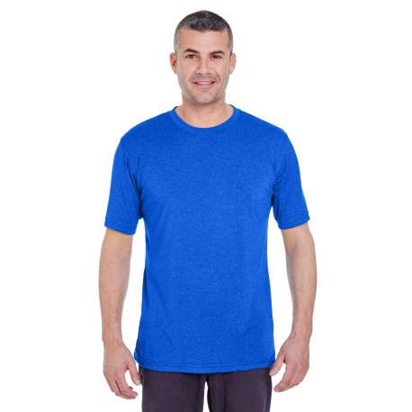 8619 UltraClub 8619 Men's Cool & Dry Heathered Performance T-Shirt ROYAL HEATHER