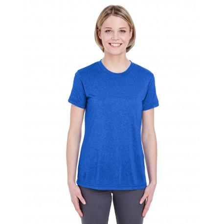 8619L UltraClub 8619L Ladies' Cool & Dry Heathered Performance T-Shirt ROYAL HEATHER