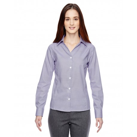 78690 North End 78690 Ladies' Precise Wrinkle-Free Two-Ply 80's Cotton Dobby Taped Shirt ROYAL PURPL 475