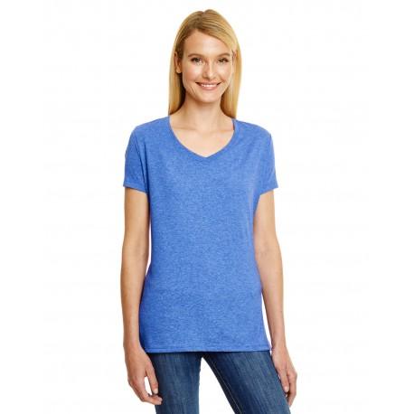 42VT Hanes 42VT Ladies' X-Temp Triblend V-Neck T-Shirt ROYAL TRIBLEND
