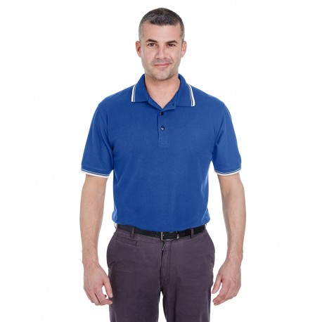 8545 UltraClub 8545 Men's Short-Sleeve Whisper Pique Polo with Tipped Collar and Cuffs ROYAL/WHITE