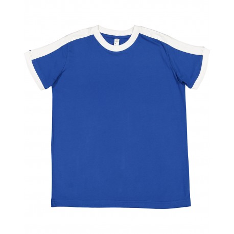 6132 LAT 6132 Youth Soccer Ringer Fine Jersey T-Shirt ROYAL/WHITE