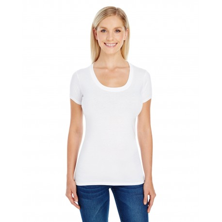 220S Threadfast Apparel 220S Ladies' Spandex Short-Sleeve Scoop Neck T-Shirt ACTIVE WHITE