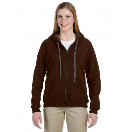 G187FL Gildan G187FL Heavy Blend Ladies' 8 oz. Vintage Classic Full-Zip Hood RUSSET