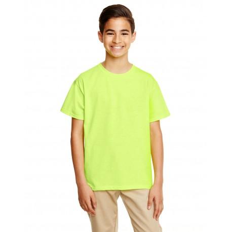G645B Gildan G645B Youth Softstyle 4.5 oz. T-Shirt SAFETY GREEN