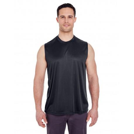 8419 UltraClub 8419 Adult Cool & Dry Sport Performance Interlock Sleeveless T-Shirt BLACK