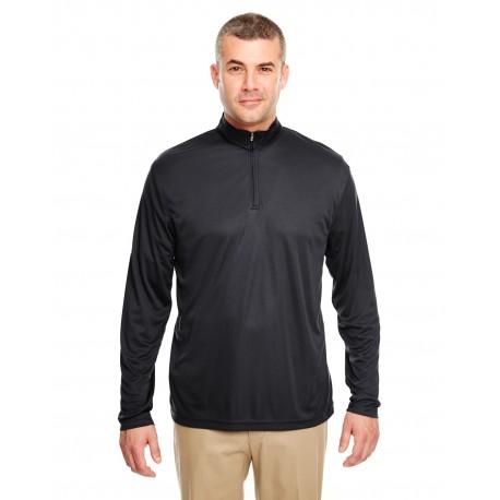 8424 UltraClub 8424 Men's Cool & Dry Sport Performance Interlock Quarter-Zip Pullover BLACK