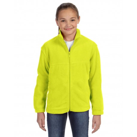 M990Y Harriton M990Y Youth 8 oz. Full-Zip Fleece SAFETY YELLOW