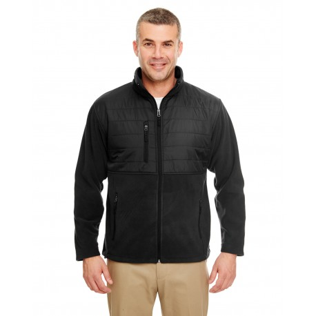 8492 UltraClub 8492 Men's Fleece Jacket with Quilted Yoke Overlay BLACK