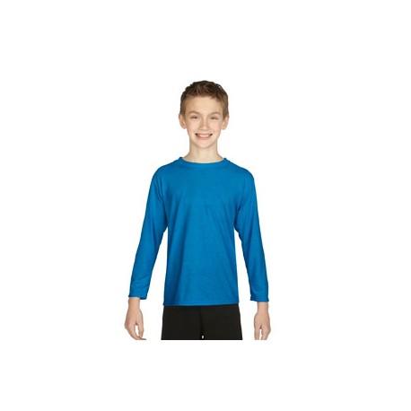 G424B Gildan G424B Youth Performance Youth 5 oz. Long-Sleeve T-Shirt SAPPHIRE
