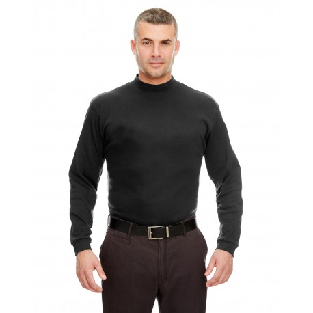 8510 UltraClub 8510 Adult Egyptian Interlock Long-Sleeve Mock Turtleneck BLACK
