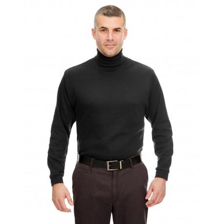 8516 UltraClub 8516 Adult Egyptian Interlock Long-Sleeve Turtleneck BLACK