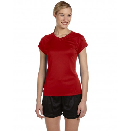 CW23 Champion CW23 Ladies' 4.1 oz. Double Dry V-Neck T-Shirt SCARLET