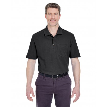 8534 UltraClub 8534 Adult Classic Pique Polo with Pocket BLACK