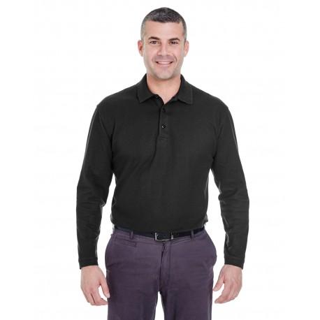 8542 UltraClub 8542 Adult Long-Sleeve Whisper Pique Polo BLACK