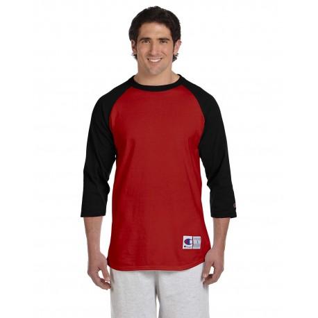 T1397 Champion T137 / T1397 Adult 5.2 oz. Raglan T-Shirt SCARLET/BLACK