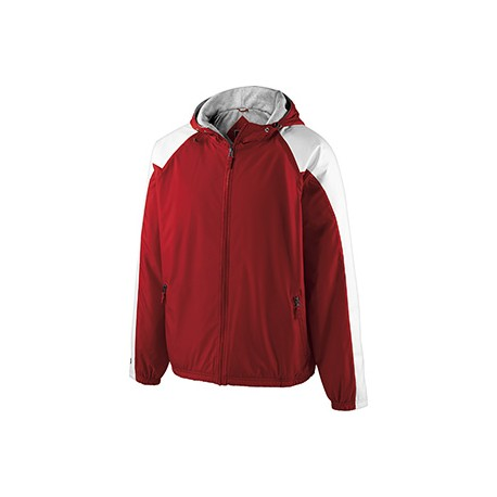 229111 Holloway 229111 Adult Polyester Full Zip Hooded Homefield Jacket SCARLET/WHITE