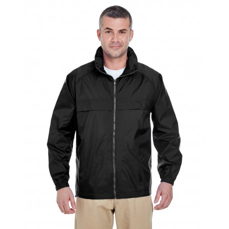 8929 UltraClub 8929 Adult Full-Zip Hooded Pack-Away Jacket BLACK