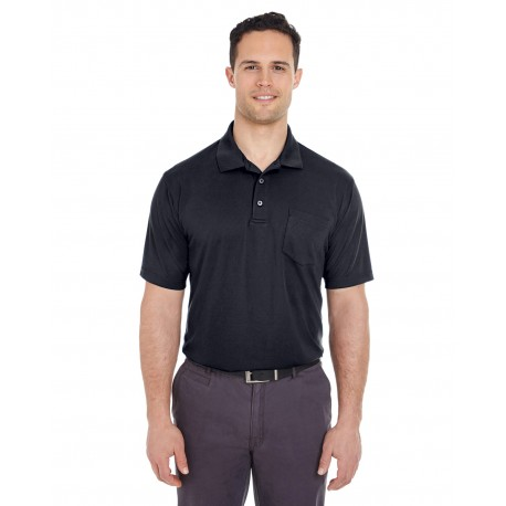 8210P UltraClub 8210P Adult Cool & Dry Mesh Pique Polo with Pocket BLACK