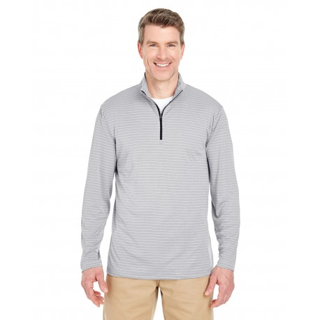 8235 UltraClub 8235 Adult Striped Quarter-Zip Pullover SILVER