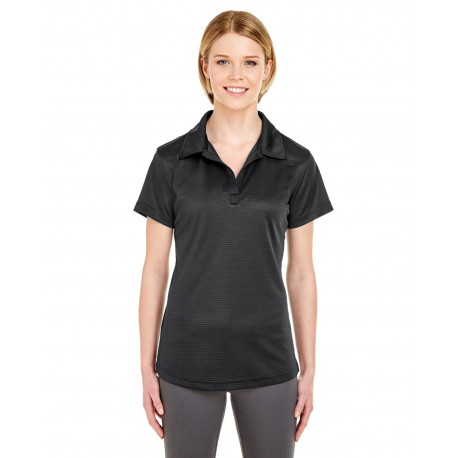 8220L UltraClub 8220L Ladies' Cool & Dry Jacquard Stripe Polo BLACK