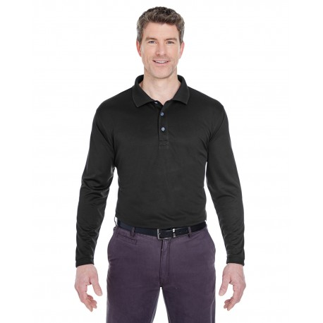 8405LS UltraClub 8405LS Adult Cool & Dry Sport Long-Sleeve Polo BLACK