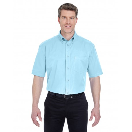 8977 UltraClub 8977 Adult Short-Sleeve Whisper Twill SKY BLUE