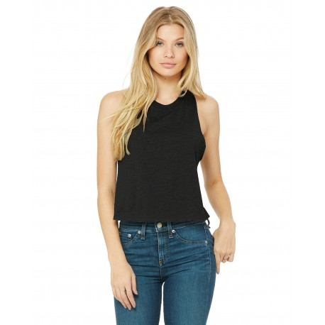6682 Bella + Canvas 6682 Ladies' Racerback Cropped Tank SLD BLK BLEND