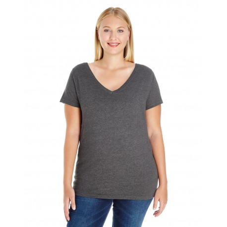 3807 LAT 3807 Ladies' Curvy V-Neck Premium Jersey T-Shirt SMOKE