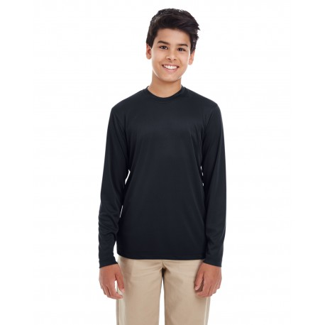 8622Y UltraClub 8622Y Youth Cool & Dry Performance Long-Sleeve Top BLACK