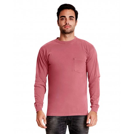 7451 Next Level 7451 Adult Inspired Dye Long-Sleeve Crew with Pocket SMOKED PAPRIKA