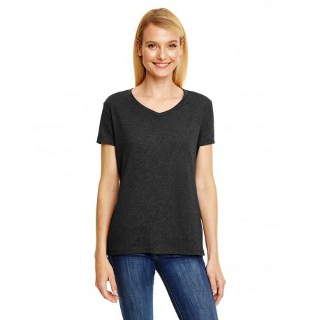 42VT Hanes 42VT Ladies' X-Temp Triblend V-Neck T-Shirt SOL BLACK TRBLND