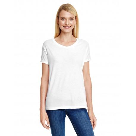 42VT Hanes 42VT Ladies' X-Temp Triblend V-Neck T-Shirt SOL WHITE TRBLND
