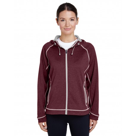 TT38W Team 365 TT38W Ladies' Excel Melange Performance Fleece Jacket SP MR HT/SP SIL