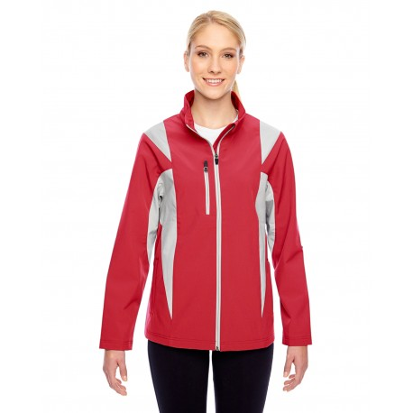 TT82W Team 365 TT82W Ladies' Icon Colorblock Soft Shell Jacket SP RED/SP SLVR