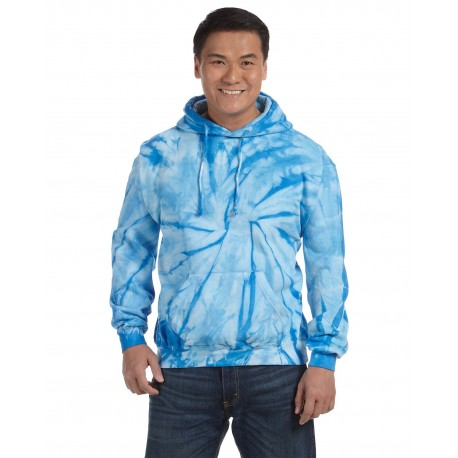 CD877 Tie-Dye CD877 Adult 8.5 oz. Tie-Dyed Pullover Hood SPIDER BABY BLUE