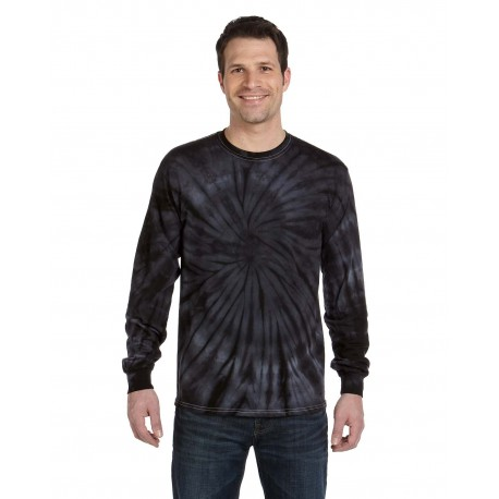 CD2000 Tie-Dye CD2000 Adult 5.4 oz., 100% Cotton Long-Sleeve Tie-Dyed T-Shirt SPIDER BLACK