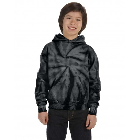 CD877Y Tie-Dye CD877Y Youth 8.5 oz. Tie-Dyed Pullover Hood SPIDER BLACK