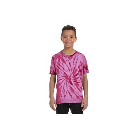 CD101Y Tie-Dye CD101Y Youth 5.4 oz., 100% Cotton Tie-Dyed T-Shirt - Spider SPIDER PINK