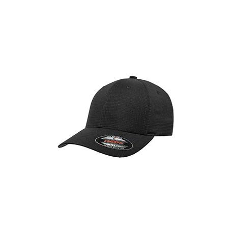 6587 Flexfit 6587 Adult Hydro Grid Stretch Cap BLACK