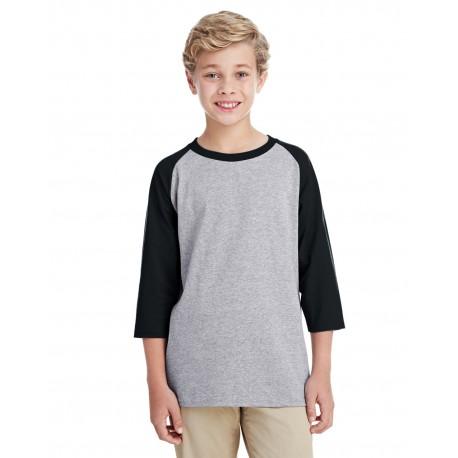 G570B Gildan G570B Youth 5.3 oz. 3/4-Raglan Sleeve T-Shirt SPORT GREY/BLK