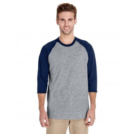 G570 Gildan G570 Adult 5.3 oz. 3/4-Raglan Sleeve T-Shirt SPORT GREY/NAVY