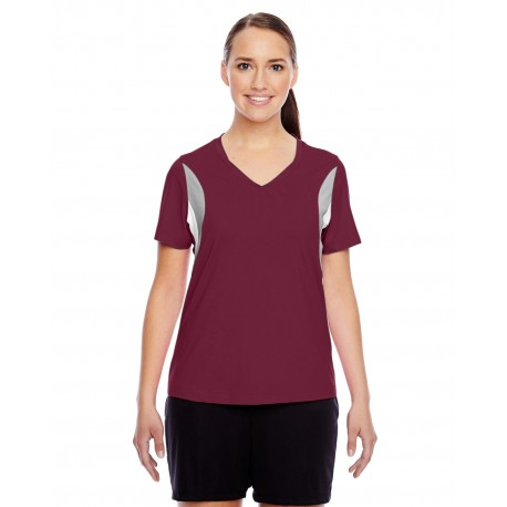TT10W Team 365 TT10W Ladies' Short-Sleeve Athletic V-Neck Tournament Jersey SPORT MAROON