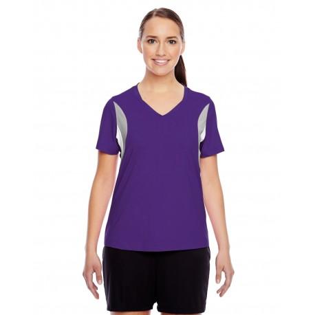 TT10W Team 365 TT10W Ladies' Short-Sleeve Athletic V-Neck Tournament Jersey SPORT PURPLE