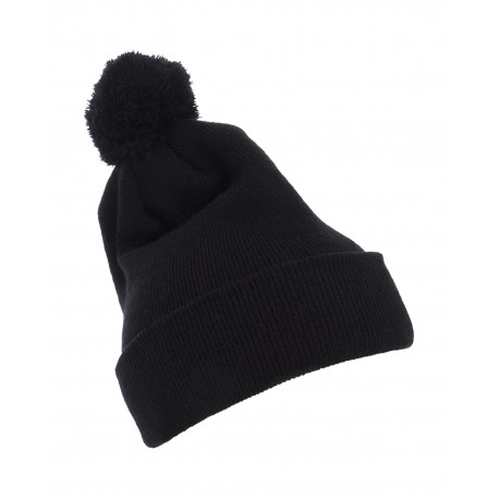 1501P Yupoong 1501P Cuffed Knit Beanie with Pom Pom Hat BLACK